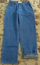 LL BEAN DOUBLE L RELAXED FIT FLANNEL LINED BLUE JEANS SIZE 14