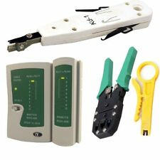 RJ45 Cat5e Cat6 Ethernet Network LAN Cable Tester Punch Down Crimping Tool Kit