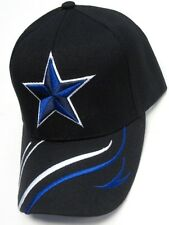 Dallas Cowboys Black Hat Cap Embroidered Blue Star Logo Curvy Lines Brim