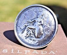 Silpada~Distressed Oxidized Sterling Silver Coin Statement Ring Sz.5~R1901