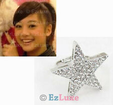 Korean Japanese fashion Cubic CZ Large Angel Star Ring