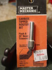 New! Master Mechanic Carbide Tipped Router Bit Flush & 22 Degree Bevel Trimming