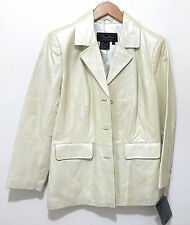 Terry Lewis Womens 100% Genuine Leather Jacket Size PS - Off White Bone Color