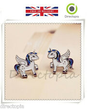 Mágico Kawaii Blanco Unicornio Caballo Pegasus Animal Aretes Regalo