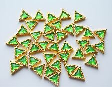Green Sew On Triangle Buttons Acrylic Gem Cute Gold Plastic Setting 10 pcs