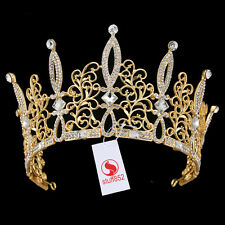 Baroque Crystal Queen Crown Tiara Headband Rhinestone Hair Prom Pageant