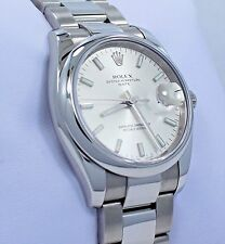 ROLEX Date 115200 34mm Oyster Perpetual Silver Stick Dial Watch MINT CONDITION