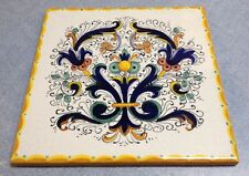Deruta Pottery-8x8 Inch Tile Ricco-Made/painted by hand In Italy.