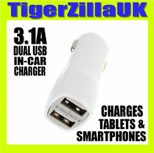 White Dual USB In-Car Charger Twin Port 1.0A + 2.1A for iPhone iPad Galaxy Lumia