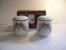 Corelle Corning Callaway Ivy Holiday Christmas Salt & Pepper Shakers Red Ribbon