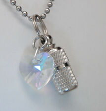 CREMATION JEWELRY URN NECKLACE HEART MEMORIAL KEEPSAKE CRYSTAL CYLINDER PENDANT