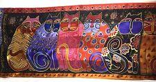 Laurel Burch Silk Scarf Feline Family Portrait Colorful Cats 53 by 11.5 Oblong