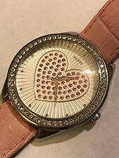 WOMENS GUESS WATCH LARGE FACE HEART LOGO NEW BATTERY