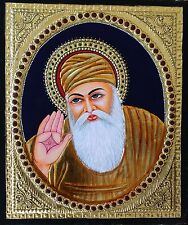 Tanjore Guru Nanak Painting Handmade South India Sikh Thanjavur Relief Art