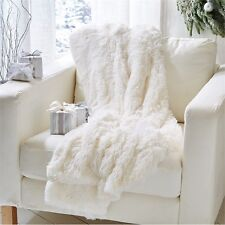 NEW Tozai Home White Faux Fur Arctic Fox Throw Blanket