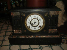 Antique F. Kroeber Victorian Mantel Mantle Shelf Clock-Marble-LQQK-34 Pounds
