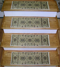 "Traditional Oriental Patterned 13 Carpet Stair Runner Treads Rugs 26"" x 9"" Ivory"