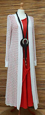 LAGENLOOK AMAZING QUIRKY SUMMER CROCHET LONG CARDIGAN/COAT*WHITE* SIZE 10-16