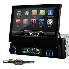 """Single 1Din 7"""" Flip Up Car Stereo DVD CD Radio Player Touch Screen+Free camera"""