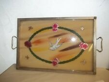 """VINTAGE HAND PAINTED BIRD BUTTERFLY REVERSE ? SERVING TRAY 21"""" ESTATE FIND"""