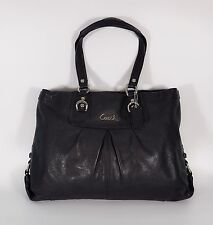 COACH F15513 Ashley Leather Carryall Tote in Black