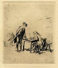 DICTATING A LETTER & ORIGINAL 19c ETCHING BY ERNEST MEISSONIER (1815-1891)