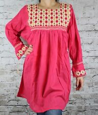 Coral Pink Hand Made Chiapas Mexican Blouse Mayan Back Loom 100% Cotton Large