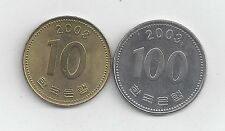 2 DIFFERENT COINS from SOUTH KOREA - 10 & 100 WON (BOTH DATING 2003)