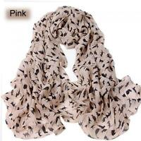 Cat Print Scarf Celebrity Fashion Shawl Scarves WRAP Ladies Animal Soft PINK