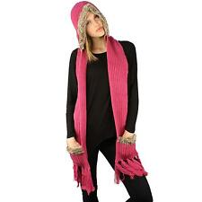 Winter Faux Animal Fur Chunky Knit Hooded Scarf Pullover Hoodie Hat Pocket Pink