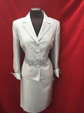 "KASPER SKIRT SUIT/NEW WITH TAG/SIZE 10/SILVER/LINED/SKIRT LENGTH 25""/"