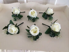 Artificial x1 luxury ivory rose button hole with greenery and pearl loop corsage
