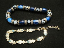 Lot of 2 Evil Eye Bracelets in Silver tone ~ One Fish Eye and One Beaded