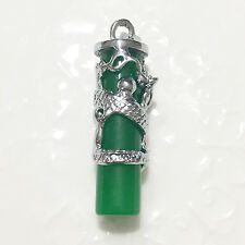 Hand Carved 18K White Gold Green Jadeite Natural Jade Dragon Pendant Jewelry A24