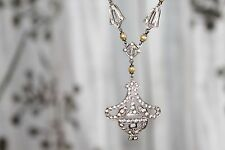 Fine EDWARDIAN Vintage STERLING Silver SEED PEARL & PASTE Lavalier Y Necklace