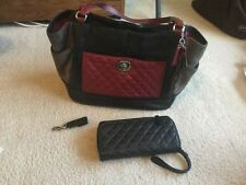 Coach Black Grey Red Color Block Purse Black Leather Wallet & Leather Key Fob