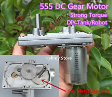 Strong Torque 555 DC 12V-24V Gear Motor Metal Gear Slow Speed Tank Robot BBQ DIY