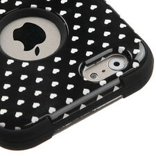 For iPhone 6 / 6S - HARD & SOFT RUBBER HYBRID CASE BLACK WHITE POLKA DOT HEARTS