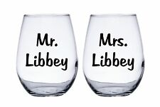 Mr. and Mrs. Personalized Wedding Bride and Groom Stemless Wine Glasses
