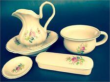Nachttopf Waschschüssel Seifenschale Kammdose Porzellan Waschset Blumen 5 tlg
