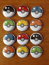 Nintendo Pokemon Butons Pinback Button Set of 12 Pokeball Buttons, Pokemon