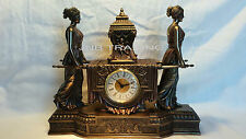 Antique look Sexy Women Carrying Urn OnThe Litter Mantel Clock Ship Immediatel