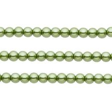 Round Glass Pearls Beads. Olive Green 4mm 16 Inch Strand