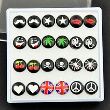 fashion Mixed spider scorpion star skull peace heart Earrings 12 Pairs ED046