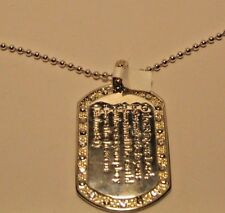 Necklace Religious Dog Tag Psalms Quote Rhinestone Pendant Bible Quote NWT L496