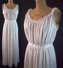 vtg 40s VANITY FAIR White GODDESS Nylon Sheer Long Nightgown Tulle Ribbons 36 16