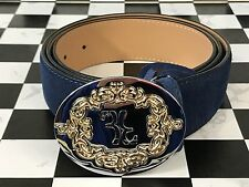 Billionaire Couture Men's Belt Blue Suede Leather Nice Belt Two Tone Any Size
