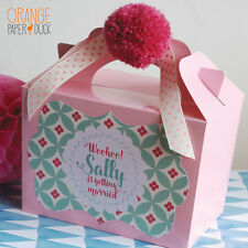 Personalised Birthday Wedding HEN PARTY Favor Box Activity Handmade Pom Pom