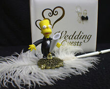 Wedding Guest Book Pen and Holder Homer & Marge The Simpsons Simpson top Funny