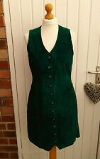 AMAZING DANIEL HECHTER 80S EMERALD GREEN SUEDE/ LEATHER DRESS MOD SIZE 10